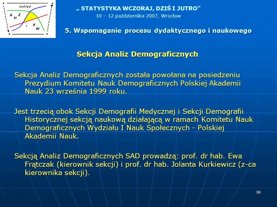 STATYSTYKA WCZORAJ, DZIŚ I JUTRO 10 – 12 października 2007, Wrocław 38 Sekcja Analiz Demograficznych została powołana na posiedzeniu Prezydium Komitet