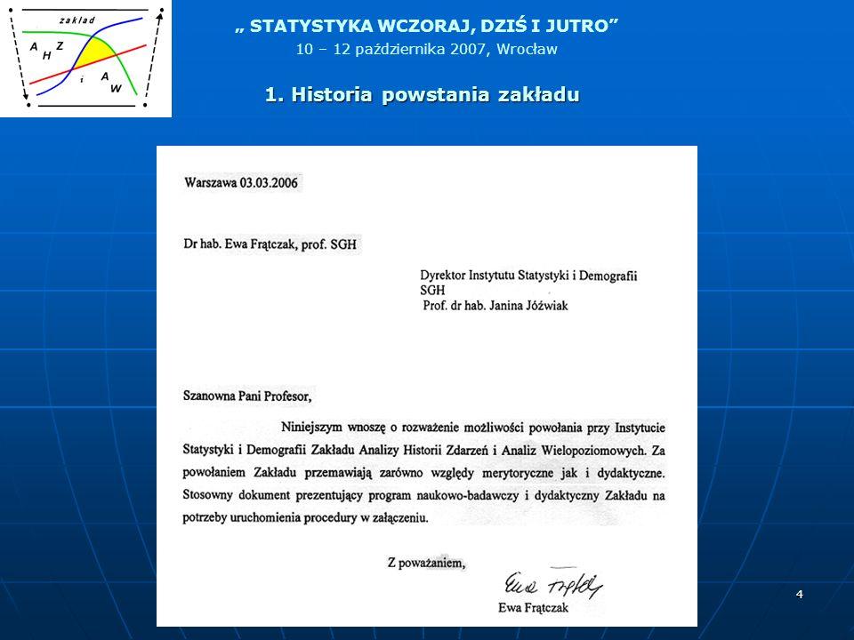STATYSTYKA WCZORAJ, DZIŚ I JUTRO 10 – 12 października 2007, Wrocław 4 1. Historia powstania zakładu