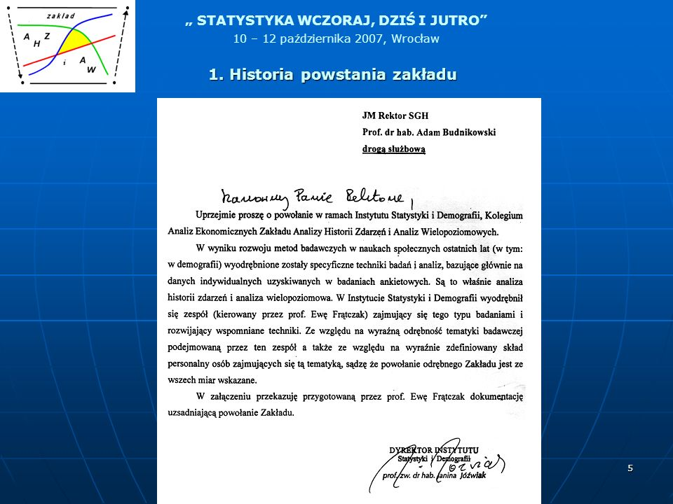 STATYSTYKA WCZORAJ, DZIŚ I JUTRO 10 – 12 października 2007, Wrocław 5 1. Historia powstania zakładu