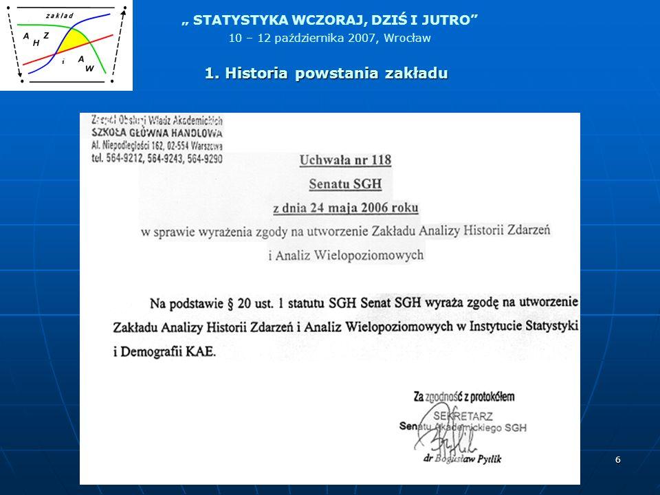 STATYSTYKA WCZORAJ, DZIŚ I JUTRO 10 – 12 października 2007, Wrocław 7 1. Historia powstania zakładu
