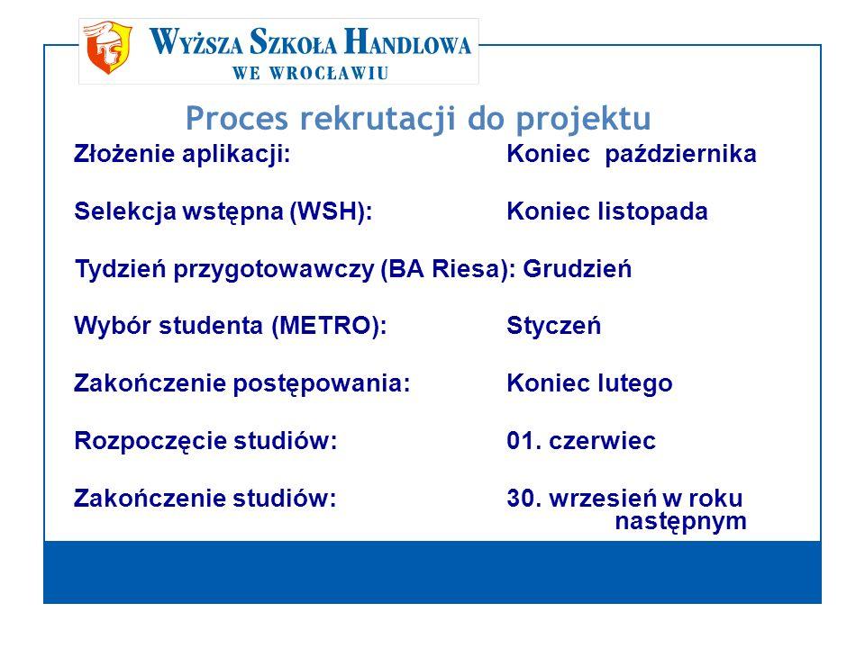 Proces rekrutacji do projektu Złożenie aplikacji:Koniec października Selekcja wstępna (WSH): Koniec listopada Tydzień przygotowawczy (BA Riesa): Grudz