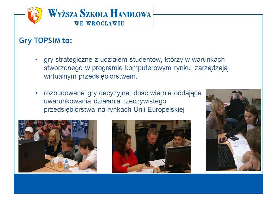 Gry TOPSIM to: gry strategiczne z udziałem studentów, którzy w warunkach stworzonego w programie komputerowym rynku, zarządzają wirtualnym przedsiębio
