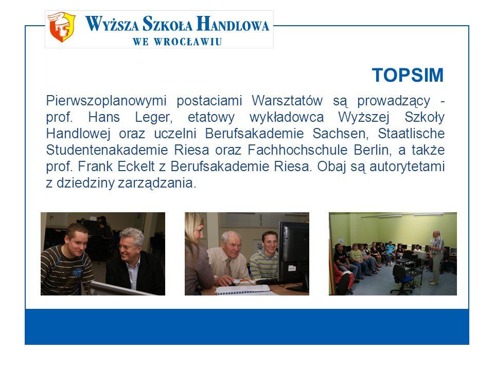 TOPSIM Pierwszoplanowymi postaciami Warsztatów są prowadzący - prof. Hans Leger, etatowy wykładowca Wyższej Szkoły Handlowej oraz uczelni Berufsakadem
