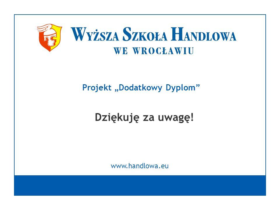 Dziękuję za uwagę! www.handlowa.eu Projekt Dodatkowy Dyplom