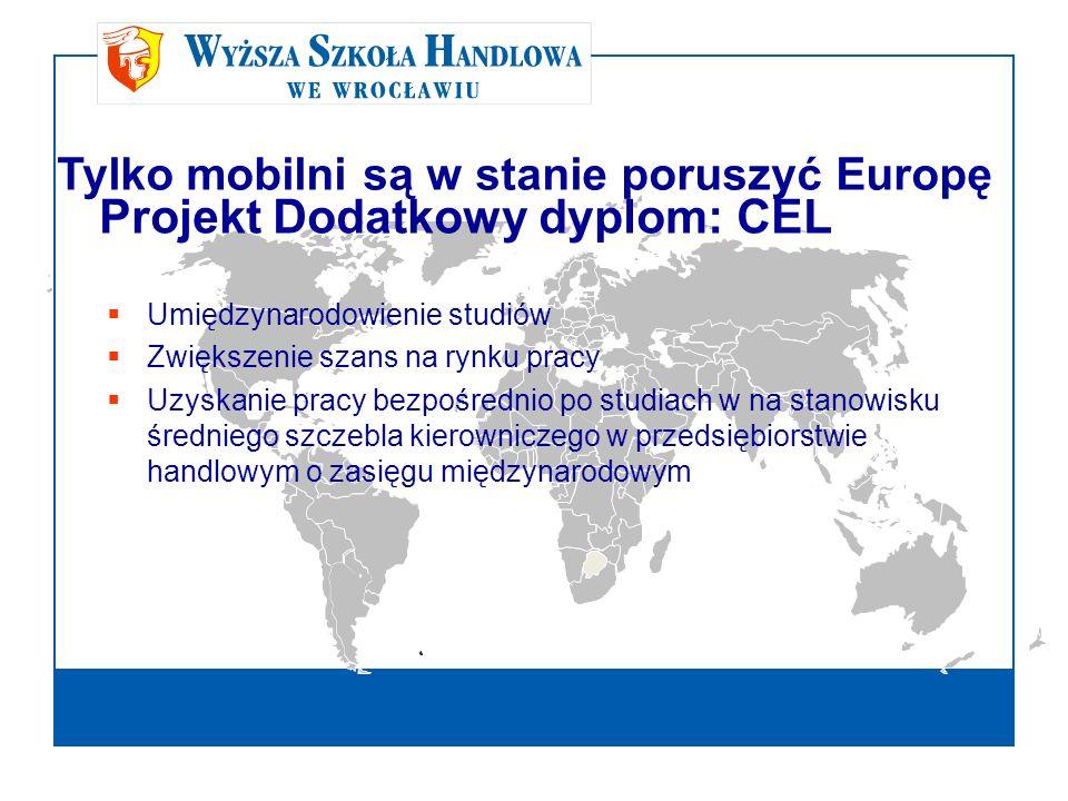 Projekt Dodatkowy dyplom: CEL Tylko mobilni są w stanie poruszyć Europę Umiędzynarodowienie studiów Zwiększenie szans na rynku pracy Uzyskanie pracy b