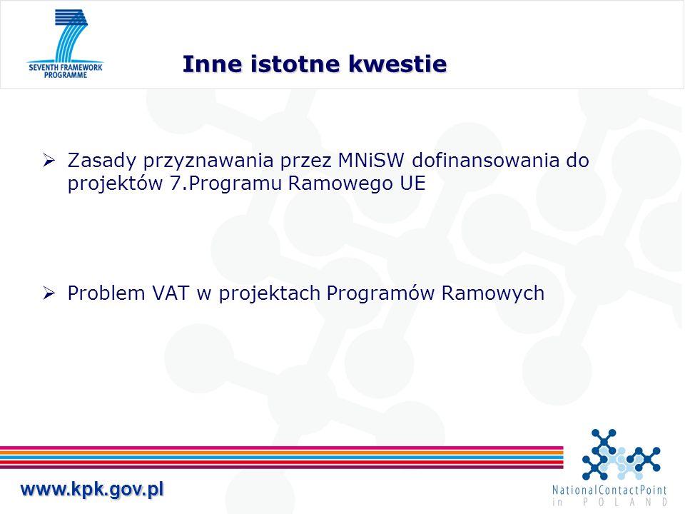 www.kpk.gov.pl Inne istotne kwestie Zasady przyznawania przez MNiSW dofinansowania do projektów 7.Programu Ramowego UE Problem VAT w projektach Progra