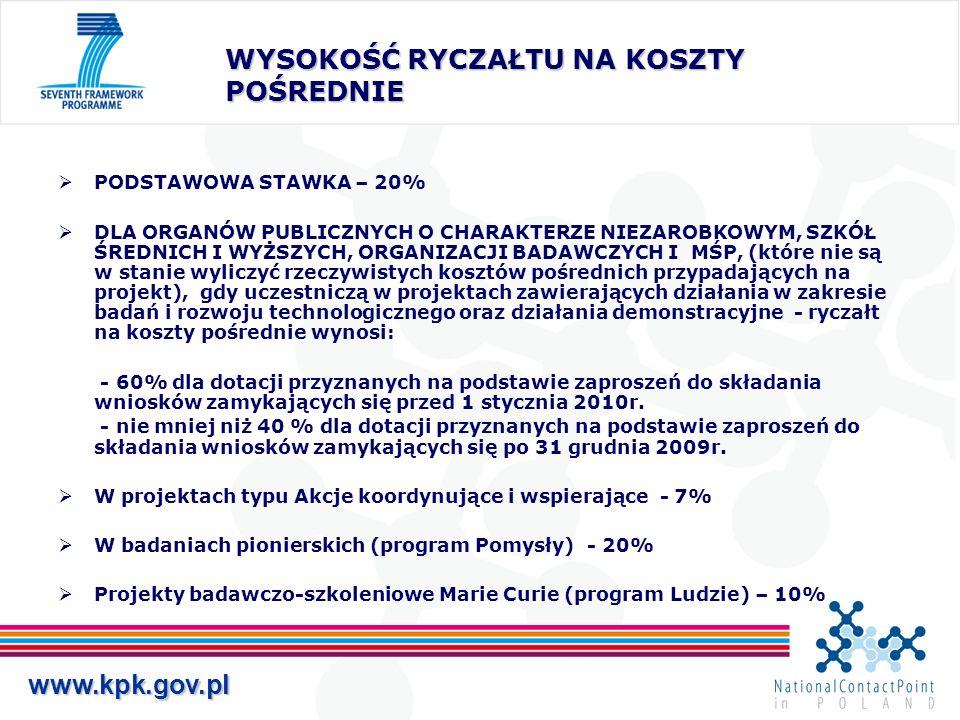 www.kpk.gov.pl WYSOKOŚĆ DOFINANSOWANIA KE (liczona procentowo od całkowitych kosztów kwalifikowanych) Działania badawczo-rozwojowe lub innowacyjne – do 50% (ale dla organów publicznych o charakterze niezarobkowym, szkół średnich i wyższych, organizacji badawczych i MŚP do 75%) Działania demonstracyjne – do 50% Projekty typu Akcje koordynacyjne i wspierające – do 100%