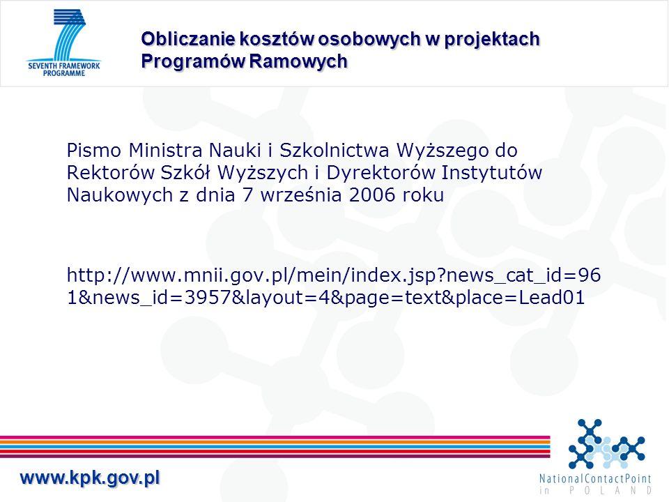 www.kpk.gov.pl Obliczanie kosztów osobowych w projektach Programów Ramowych Pismo Ministra Nauki i Szkolnictwa Wyższego do Rektorów Szkół Wyższych i D