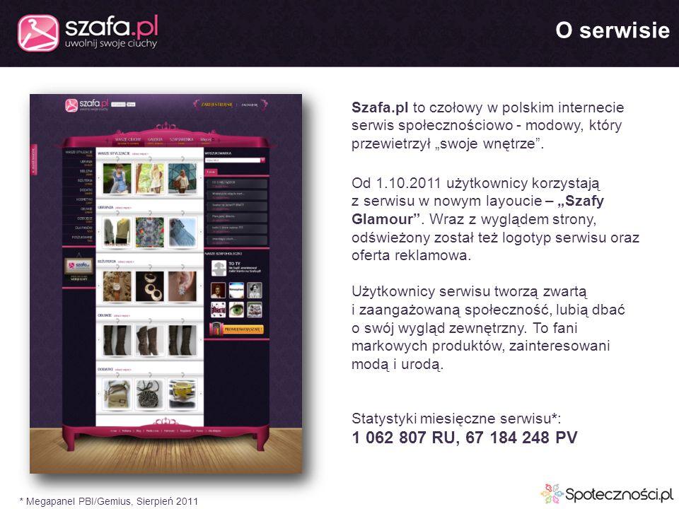 O serwisie * Megapanel PBI/Gemius, Sierpień 2011 Od 1.10.2011 użytkownicy korzystają z serwisu w nowym layoucie – Szafy Glamour. Wraz z wyglądem stron