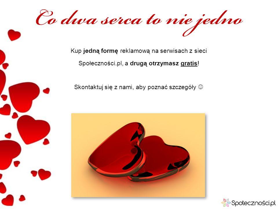 Kup jedną formę reklamową na serwisach z sieci Społeczności.pl, a drugą otrzymasz gratis! Skontaktuj się z nami, aby poznać szczegóły