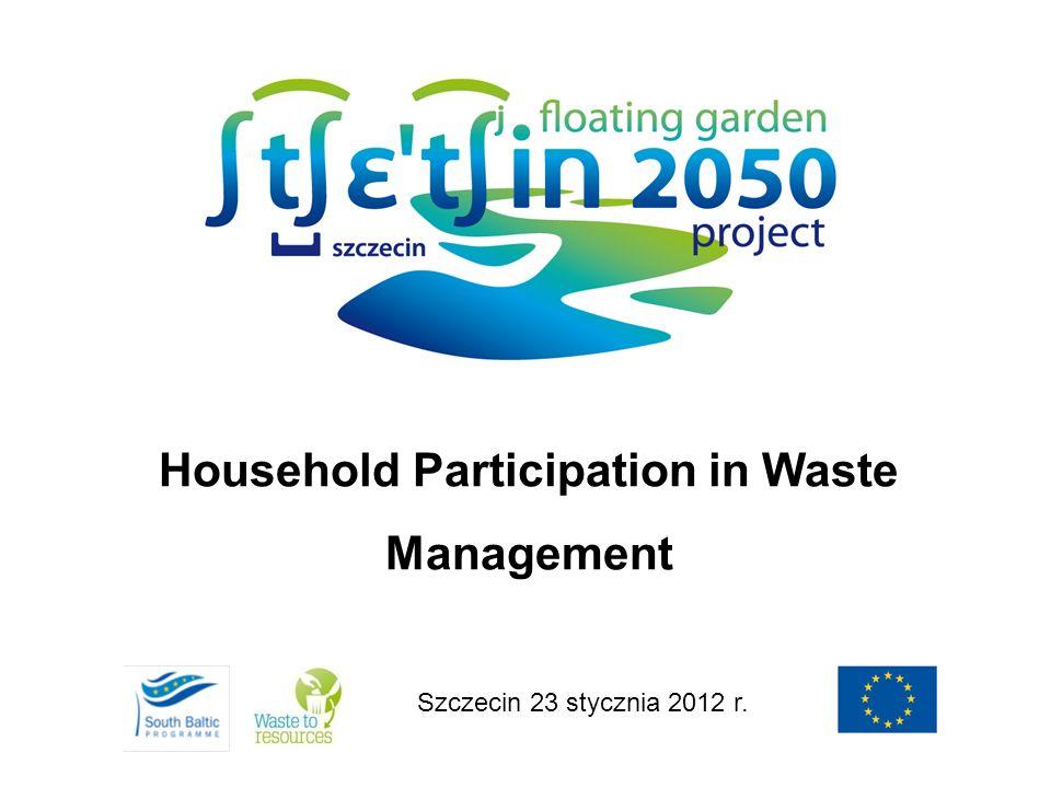 Szczecin 23 stycznia 2012 r. Household Participation in Waste Management