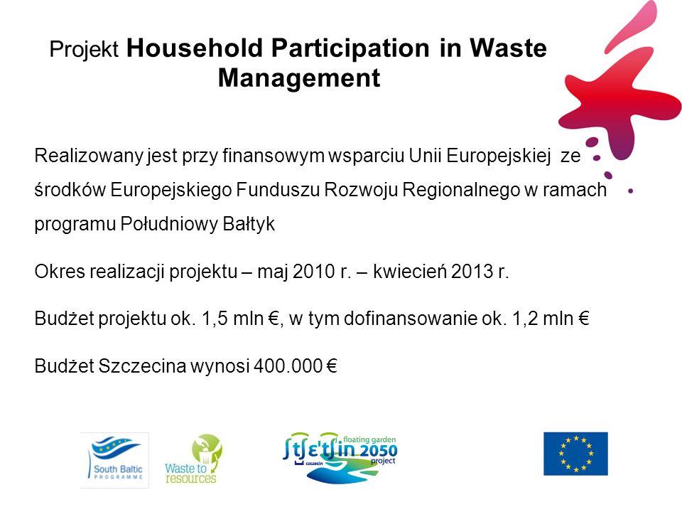 Projekt Household Participation in Waste Management Realizowany jest przy finansowym wsparciu Unii Europejskiej ze środków Europejskiego Funduszu Rozw