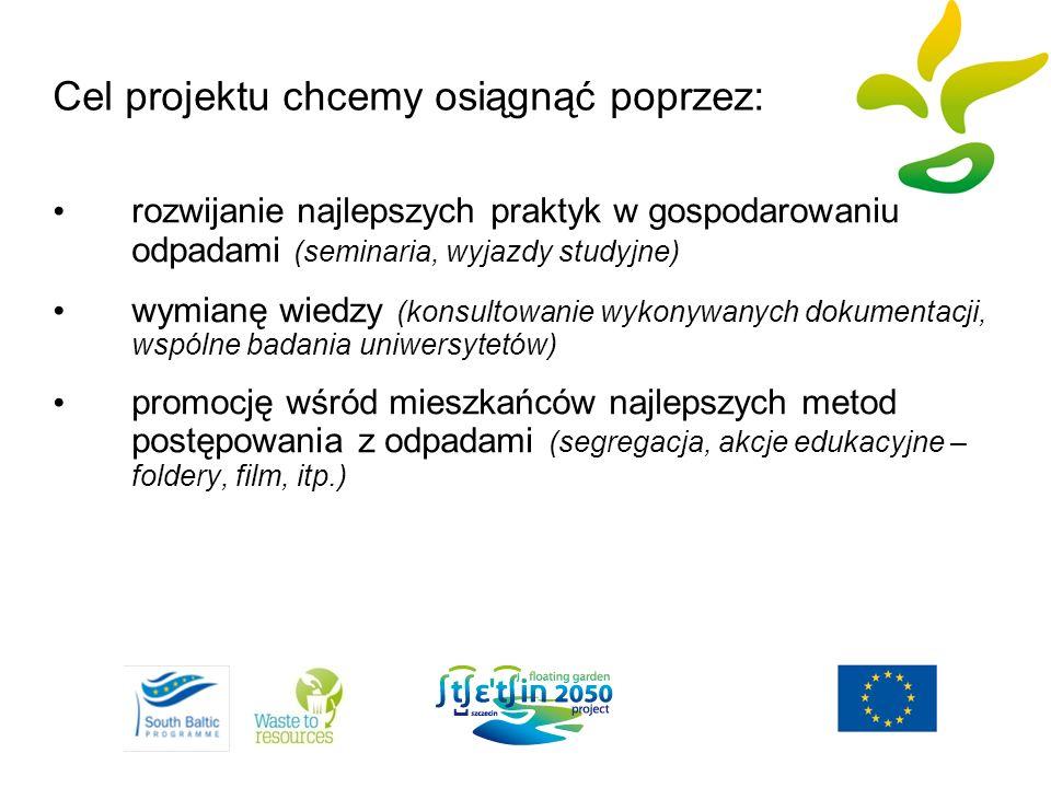 Cel projektu chcemy osiągnąć poprzez: rozwijanie najlepszych praktyk w gospodarowaniu odpadami (seminaria, wyjazdy studyjne) wymianę wiedzy (konsultow