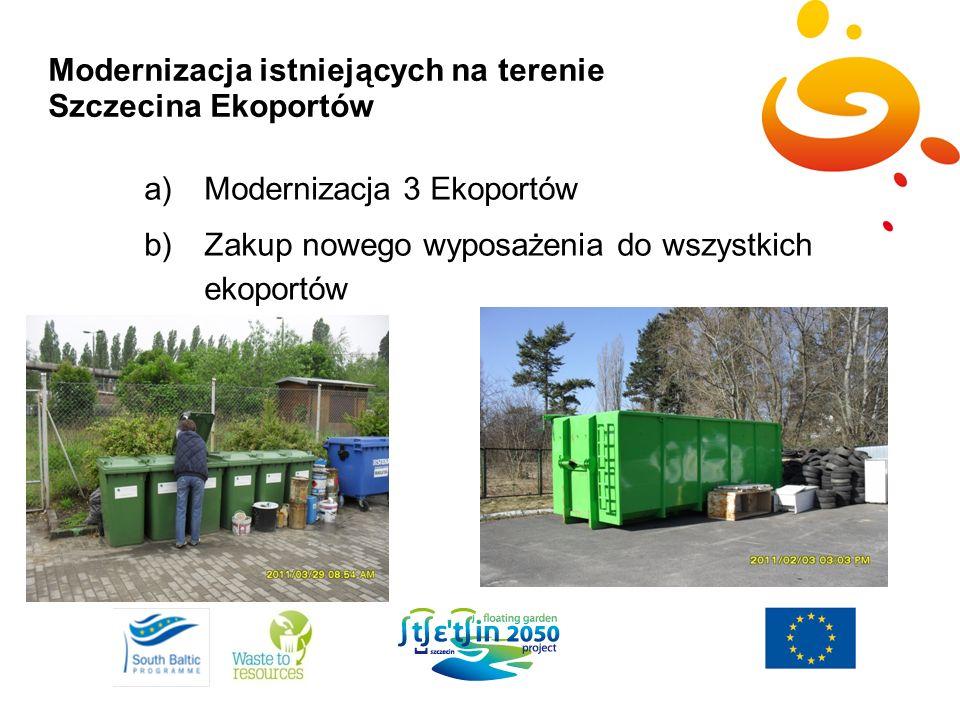 Modernizacja istniejących na terenie Szczecina Ekoportów a)Modernizacja 3 Ekoportów b)Zakup nowego wyposażenia do wszystkich ekoportów