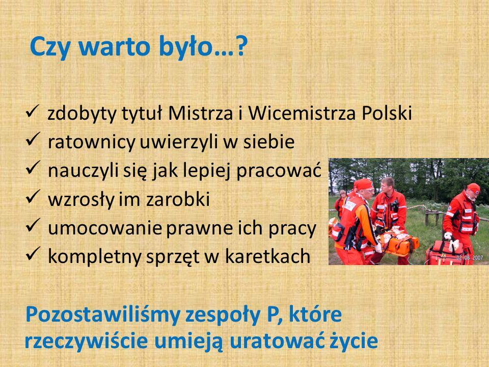 Czy warto było…? zdobyty tytuł Mistrza i Wicemistrza Polski ratownicy uwierzyli w siebie nauczyli się jak lepiej pracować wzrosły im zarobki umocowani