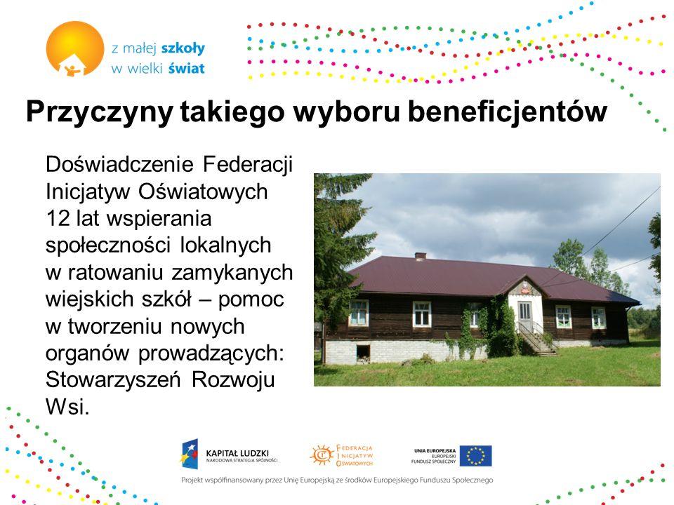 Przyczyny takiego wyboru beneficjentów Doświadczenie Federacji Inicjatyw Oświatowych 12 lat wspierania społeczności lokalnych w ratowaniu zamykanych w
