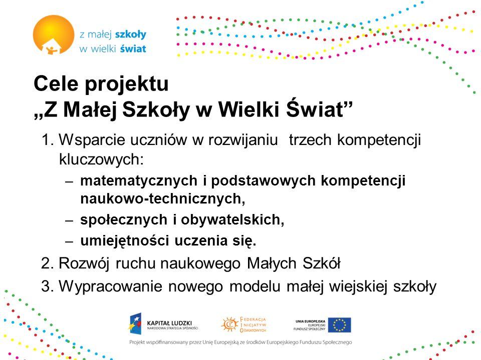 Cele projektu Z Małej Szkoły w Wielki Świat 1. Wsparcie uczniów w rozwijaniu trzech kompetencji kluczowych: –matematycznych i podstawowych kompetencji