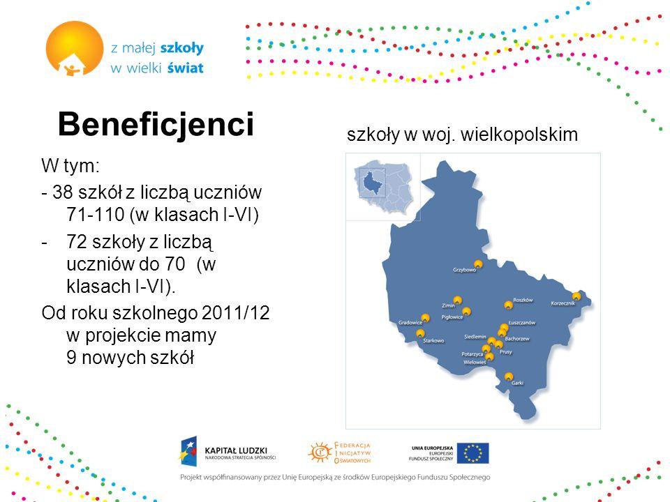 Beneficjenci W tym: - 38 szkół z liczbą uczniów 71-110 (w klasach I-VI) -72 szkoły z liczbą uczniów do 70 (w klasach I-VI). Od roku szkolnego 2011/12