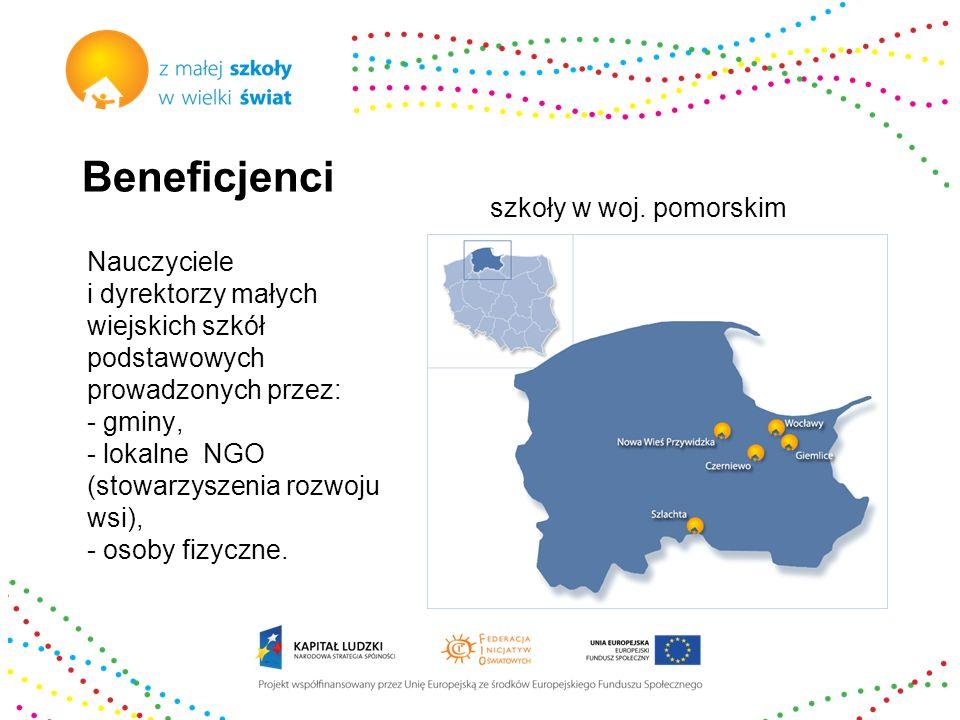 Beneficjenci Nauczyciele i dyrektorzy małych wiejskich szkół podstawowych prowadzonych przez: - gminy, - lokalne NGO (stowarzyszenia rozwoju wsi), - o