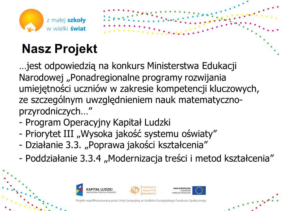 Nasz Projekt …jest odpowiedzią na konkurs Ministerstwa Edukacji Narodowej Ponadregionalne programy rozwijania umiejętności uczniów w zakresie kompeten