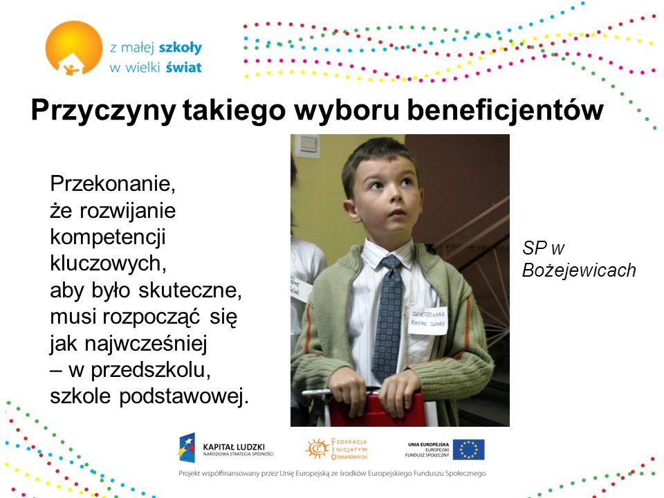 Przyczyny takiego wyboru beneficjentów Przekonanie, że istnienie małych wiejskich szkół jest bardzo ważne dla zwiększenia szans sukcesu dzieci w dalszej edukacji i rozwoju terenów wiejskich - trzeba je wspierać i promować.