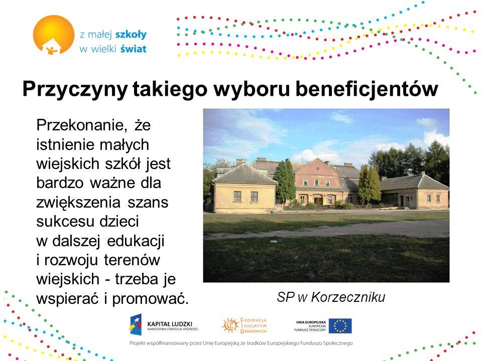 Przyczyny takiego wyboru beneficjentów Przekonanie, że mała wiejska szkoła winna pełnić rolę centrum rozwoju wsi: społecznego, kulturalnego, sportowego, ma motywować i inspirować do wspólnych działań w środowisku.