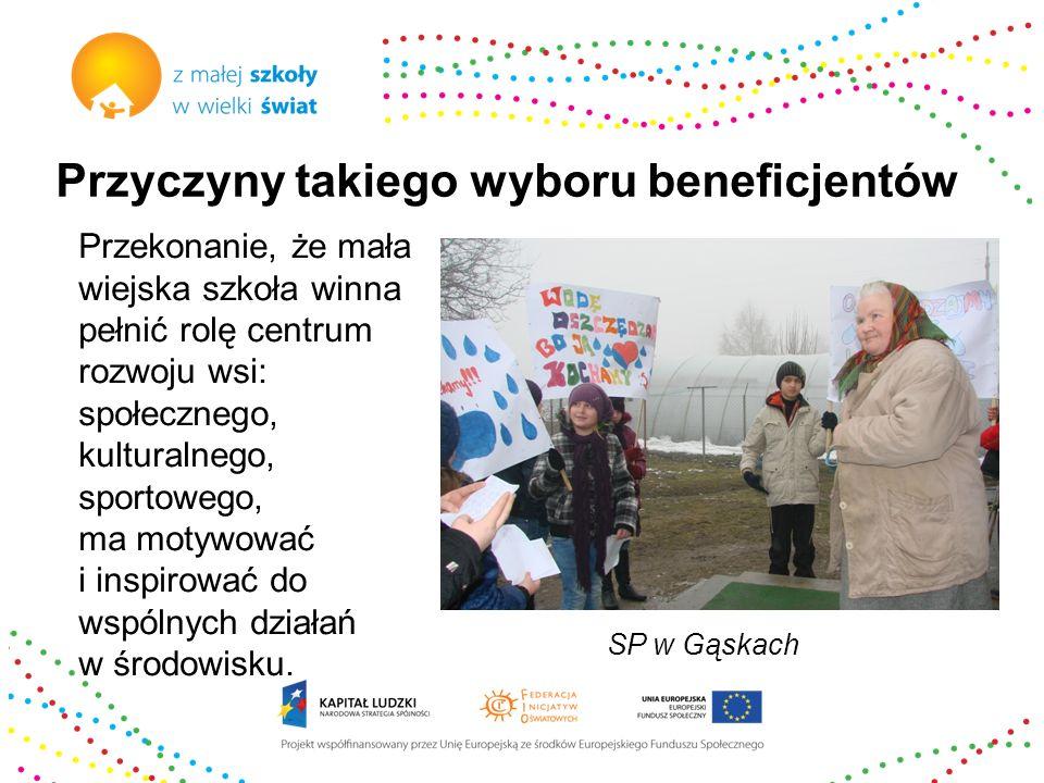 Przyczyny takiego wyboru beneficjentów Doświadczenie Federacji Inicjatyw Oświatowych 12 lat wspierania społeczności lokalnych w ratowaniu zamykanych wiejskich szkół – pomoc w tworzeniu nowych organów prowadzących: Stowarzyszeń Rozwoju Wsi.