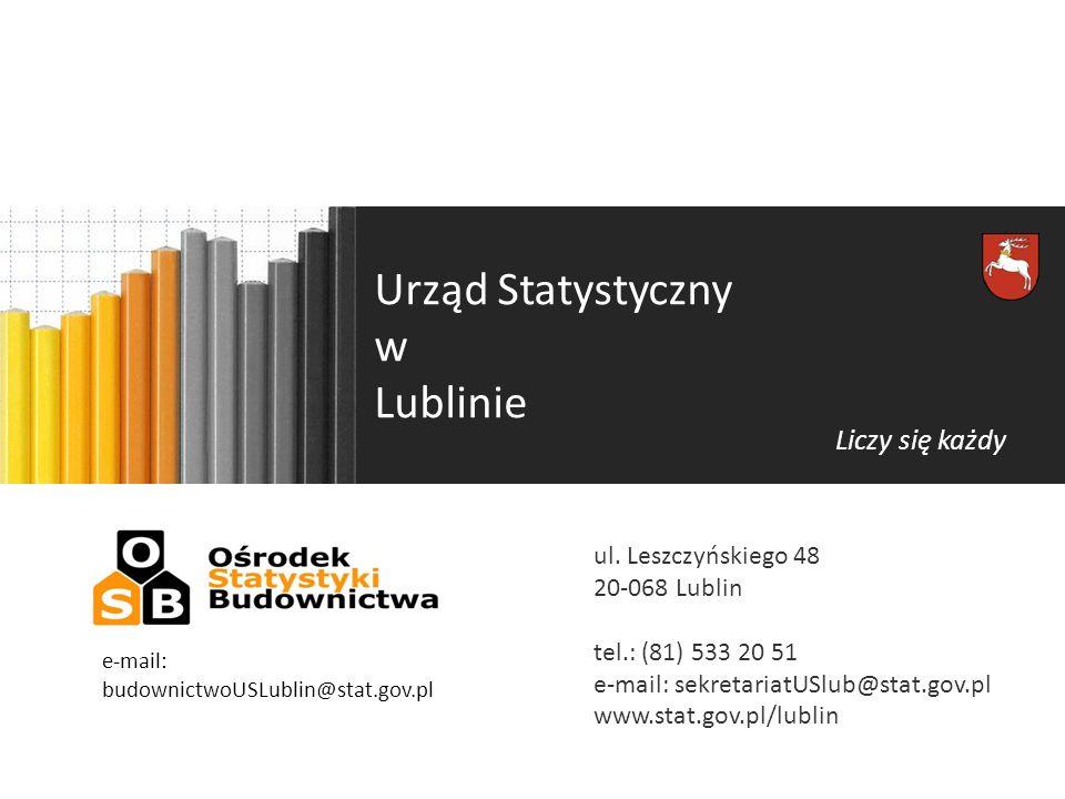Urząd Statystyczny w Lublinie Liczy się każdy ul. Leszczyńskiego 48 20-068 Lublin tel.: (81) 533 20 51 e-mail: sekretariatUSlub@stat.gov.pl www.stat.g