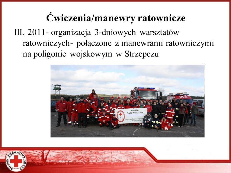 Ćwiczenia/manewry ratownicze III. 2011- organizacja 3-dniowych warsztatów ratowniczych- połączone z manewrami ratowniczymi na poligonie wojskowym w St