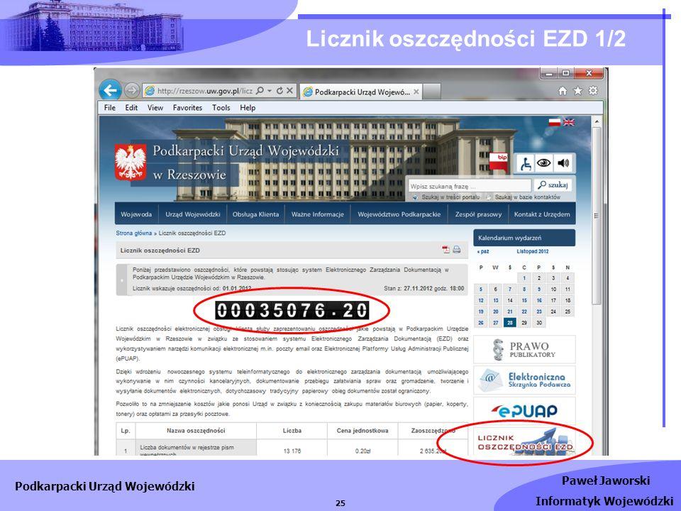 Paweł Jaworski Informatyk Wojewódzki Podkarpacki Urząd Wojewódzki 25 Licznik oszczędności EZD 1/2