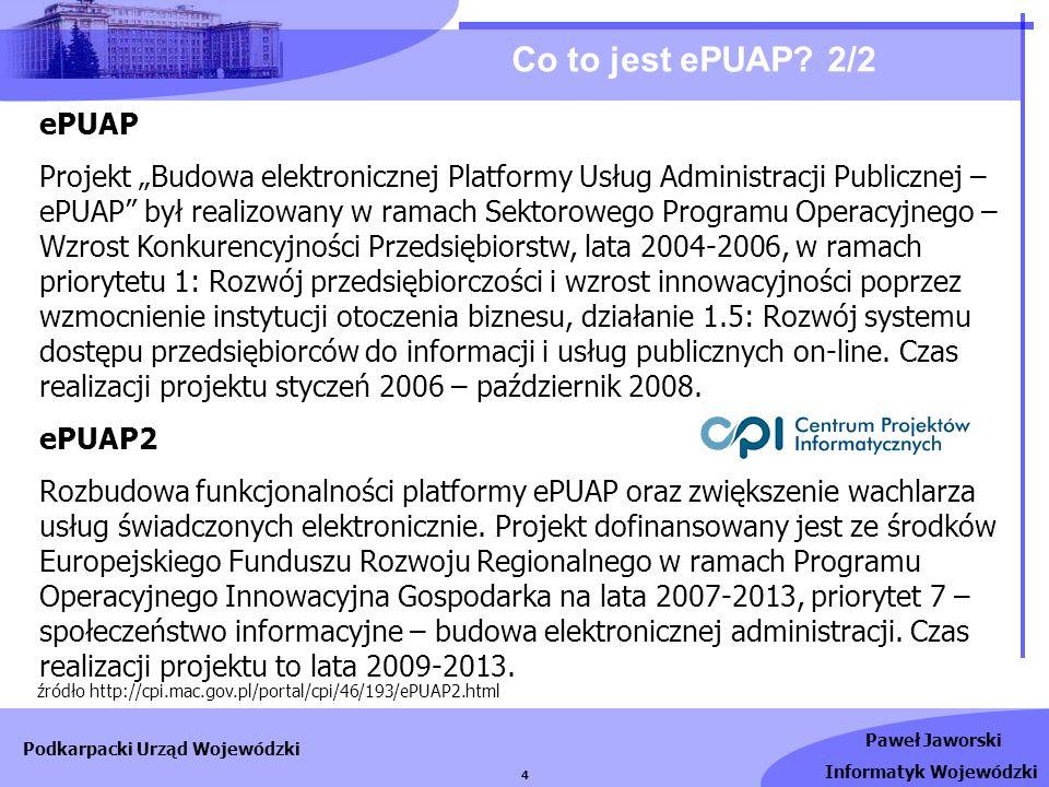 Paweł Jaworski Informatyk Wojewódzki Podkarpacki Urząd Wojewódzki 5 Korzyści używania ePUAP 1/2 ePUAP dla obywateli - poszukując usługi, którą chcieliby zrealizować za pośrednictwem portalu ePUAP, korzystają z Katalogu Usług.