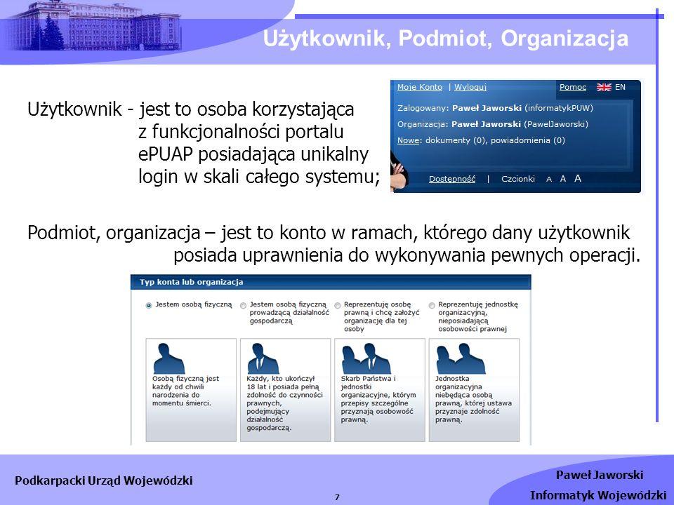 Paweł Jaworski Informatyk Wojewódzki Podkarpacki Urząd Wojewódzki 7 Użytkownik, Podmiot, Organizacja Użytkownik - jest to osoba korzystająca z funkcjo