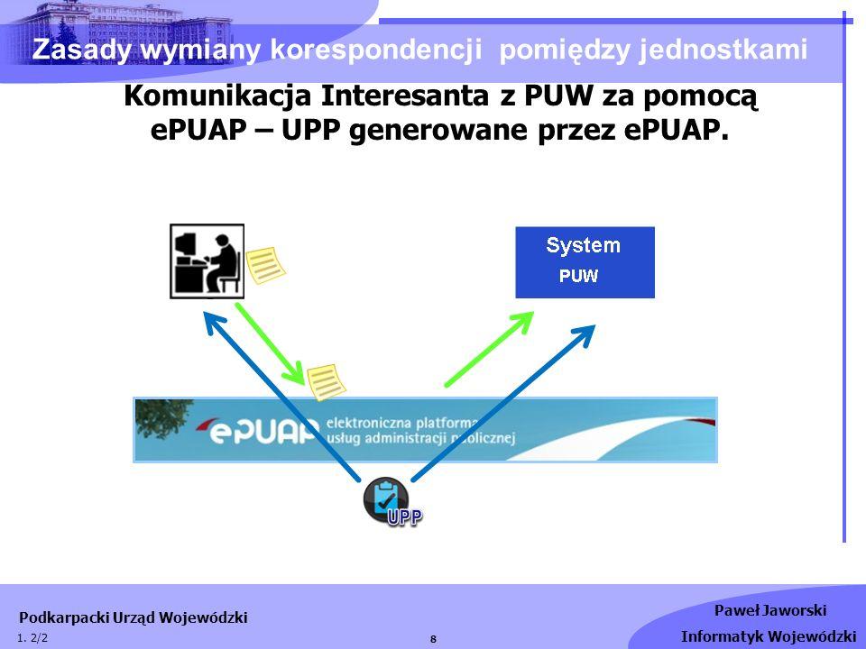 Paweł Jaworski Informatyk Wojewódzki Podkarpacki Urząd Wojewódzki 9 Zasady wymiany korespondencji pomiędzy jednostkami Wysyłanie odpowiedzi z PUW do Interesanta UPD generowane przez ePUAP.