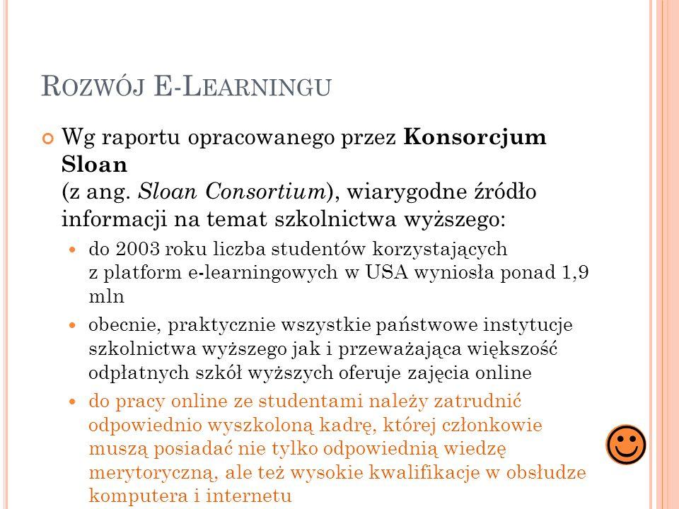 R OZWÓJ E-L EARNINGU Wg raportu opracowanego przez Konsorcjum Sloan (z ang. Sloan Consortium ), wiarygodne źródło informacji na temat szkolnictwa wyżs