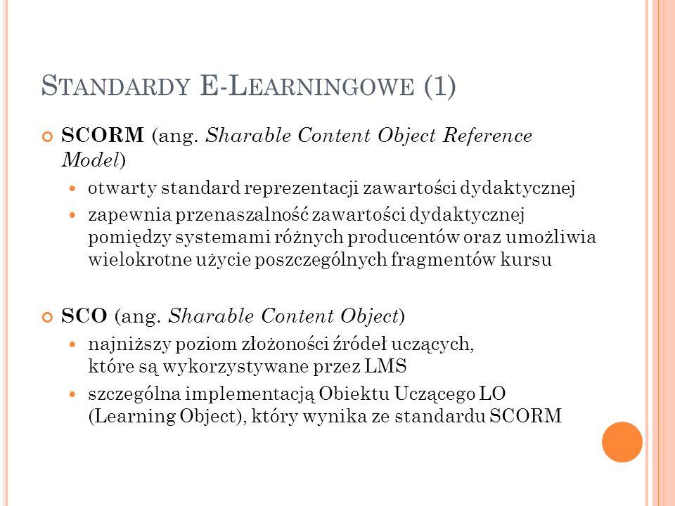 S TANDARDY E-L EARNINGOWE (1) SCORM (ang. Sharable Content Object Reference Model ) otwarty standard reprezentacji zawartości dydaktycznej zapewnia pr