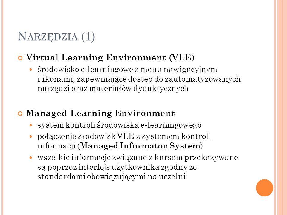 N ARZĘDZIA (1) Virtual Learning Environment (VLE) środowisko e-learningowe z menu nawigacyjnym i ikonami, zapewniające dostęp do zautomatyzowanych nar