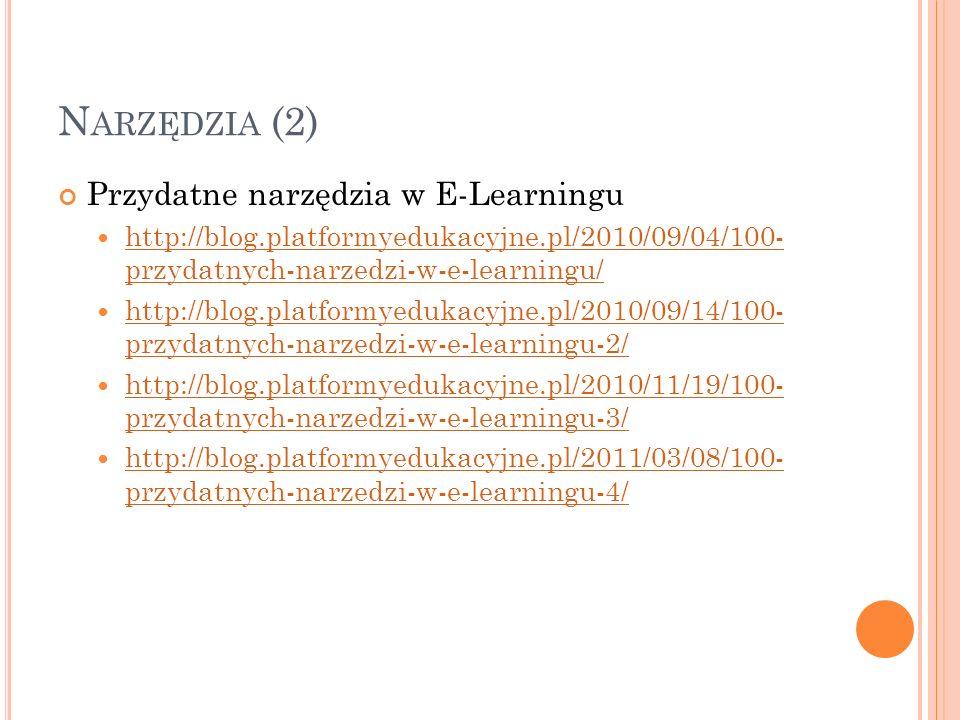 N ARZĘDZIA (2) Przydatne narzędzia w E-Learningu http://blog.platformyedukacyjne.pl/2010/09/04/100- przydatnych-narzedzi-w-e-learningu/ http://blog.pl