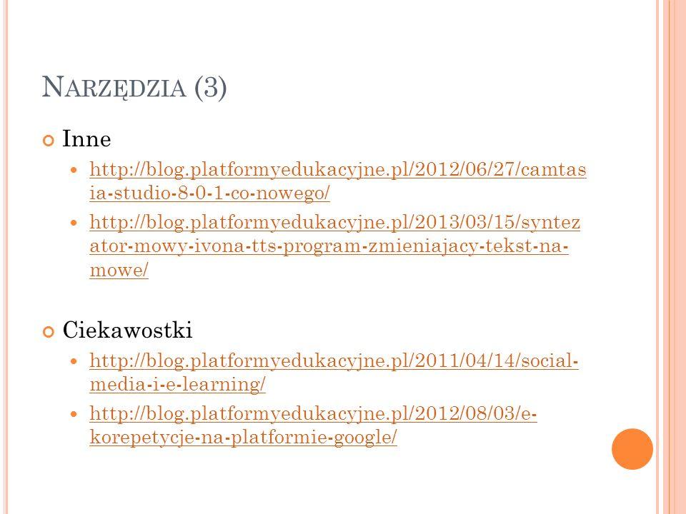 N ARZĘDZIA (3) Inne http://blog.platformyedukacyjne.pl/2012/06/27/camtas ia-studio-8-0-1-co-nowego/ http://blog.platformyedukacyjne.pl/2012/06/27/camt