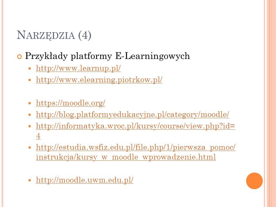 N ARZĘDZIA (4) Przykłady platformy E-Learningowych http://www.learnup.pl/ http://www.elearning.piotrkow.pl/ https://moodle.org/ http://blog.platformye