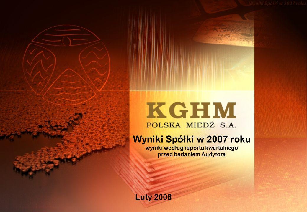 Wyniki Spółki w 2007 roku wyniki według raportu kwartalnego przed badaniem Audytora Luty 2008