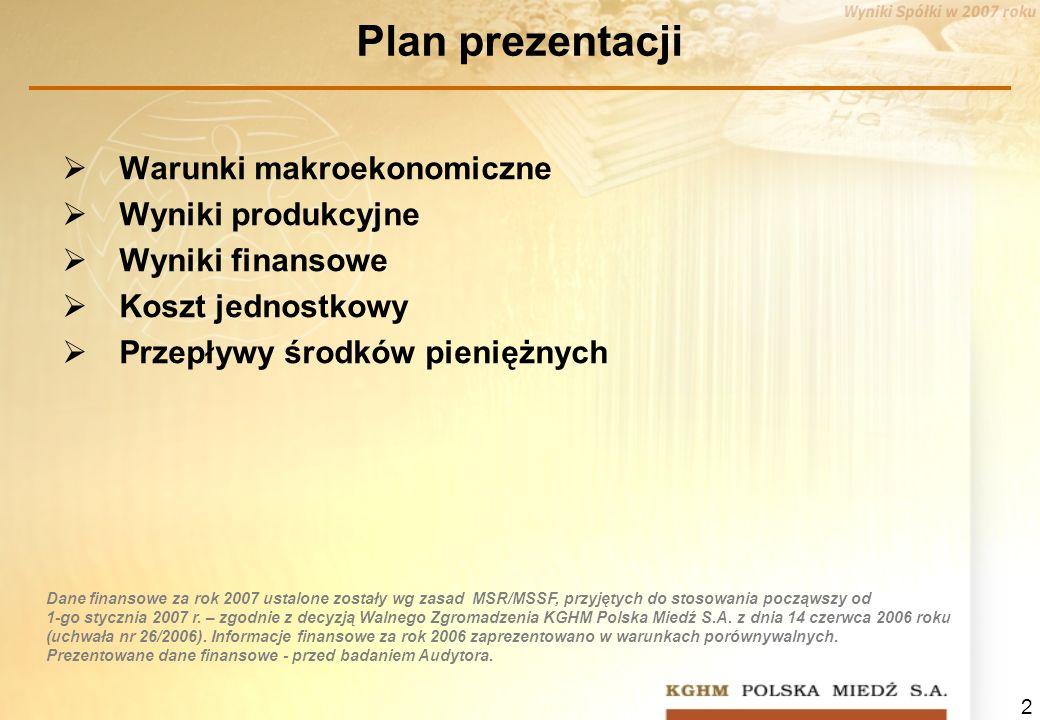 2 Plan prezentacji Warunki makroekonomiczne Wyniki produkcyjne Wyniki finansowe Koszt jednostkowy Przepływy środków pieniężnych Dane finansowe za rok 2007 ustalone zostały wg zasad MSR/MSSF, przyjętych do stosowania począwszy od 1-go stycznia 2007 r.