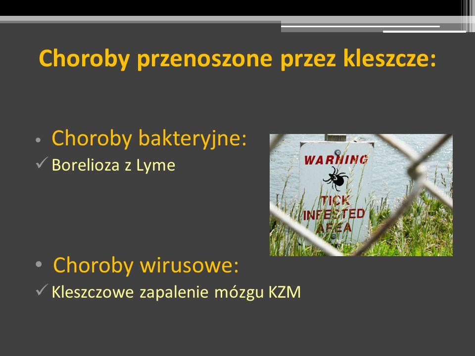 Choroby bakteryjne: Borelioza z Lyme Choroby wirusowe: Kleszczowe zapalenie mózgu KZM