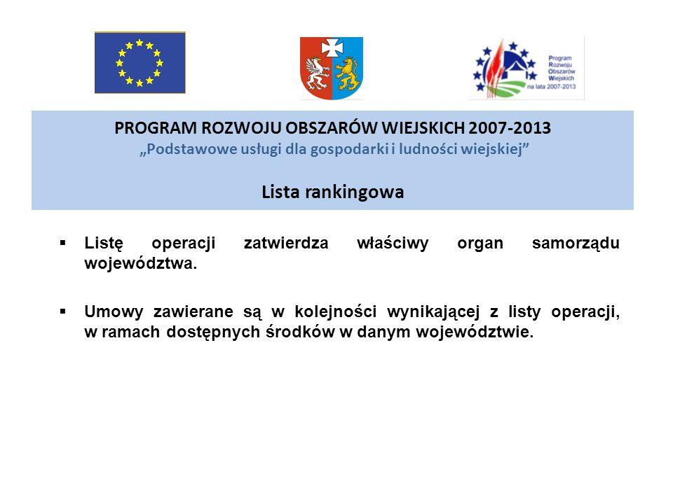 PROGRAM ROZWOJU OBSZARÓW WIEJSKICH 2007-2013 Podstawowe usługi dla gospodarki i ludności wiejskiej Lista rankingowa Listę operacji zatwierdza właściwy
