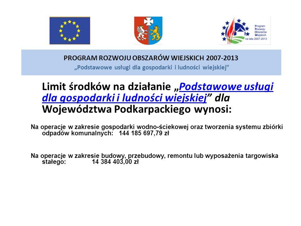 PROGRAM ROZWOJU OBSZARÓW WIEJSKICH 2007-2013 Podstawowe usługi dla gospodarki i ludności wiejskiej Limit środków na działanie Podstawowe usługi dla go
