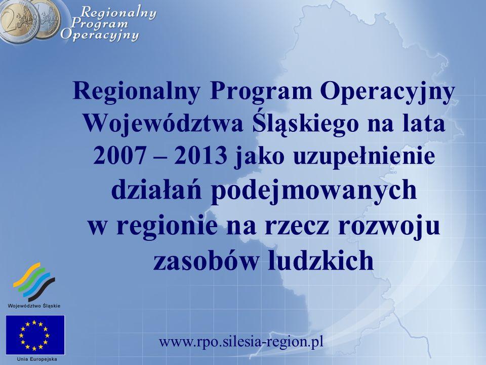 www.rpo.silesia-region.pl Regionalny Program Operacyjny Województwa Śląskiego na lata 2007 – 2013 jako uzupełnienie działań podejmowanych w regionie n