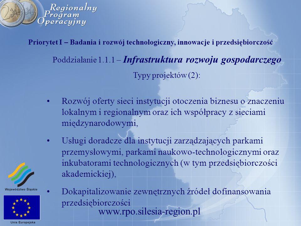 www.rpo.silesia-region.pl Poddziałanie 1.1.1 – Infrastruktura rozwoju gospodarczego Typy projektów (2): Rozwój oferty sieci instytucji otoczenia bizne