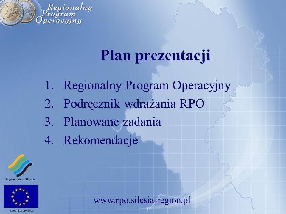 www.rpo.silesia-region.pl Regionalny Program Operacyjny Województwa Śląskiego na lata 2007 – 2013 trzecia wersja Wstępnego projektu Nie będzie uzupełnienia programu, Nie będzie uzupełnienia programu, jednofunduszowy, jednofunduszowy, Tylko priorytety, Tylko priorytety, Dofinansowanie może wynosić maksymalnie do 85% na poziomie programu, Dofinansowanie może wynosić maksymalnie do 85% na poziomie programu, VAT kwalifikowalny, VAT kwalifikowalny, n+3 (do 2010 r.).