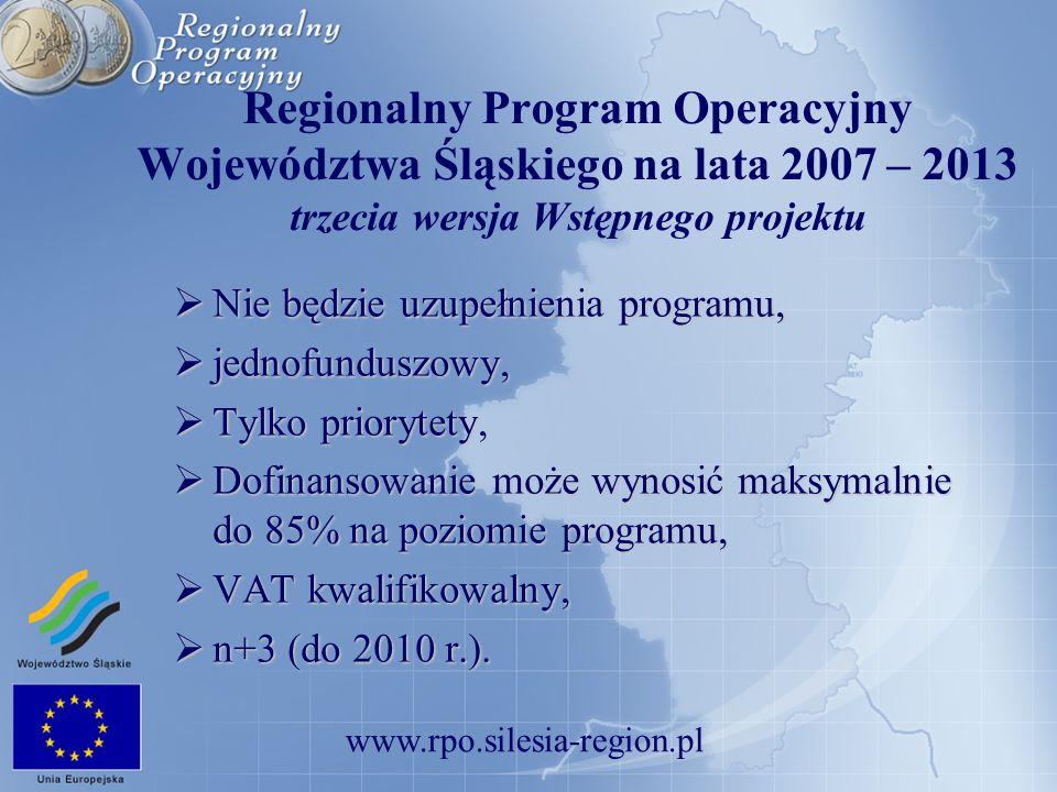 www.rpo.silesia-region.pl Regionalny Program Operacyjny Województwa Śląskiego na lata 2007 – 2013 trzecia wersja Wstępnego projektu Nie będzie uzupełn