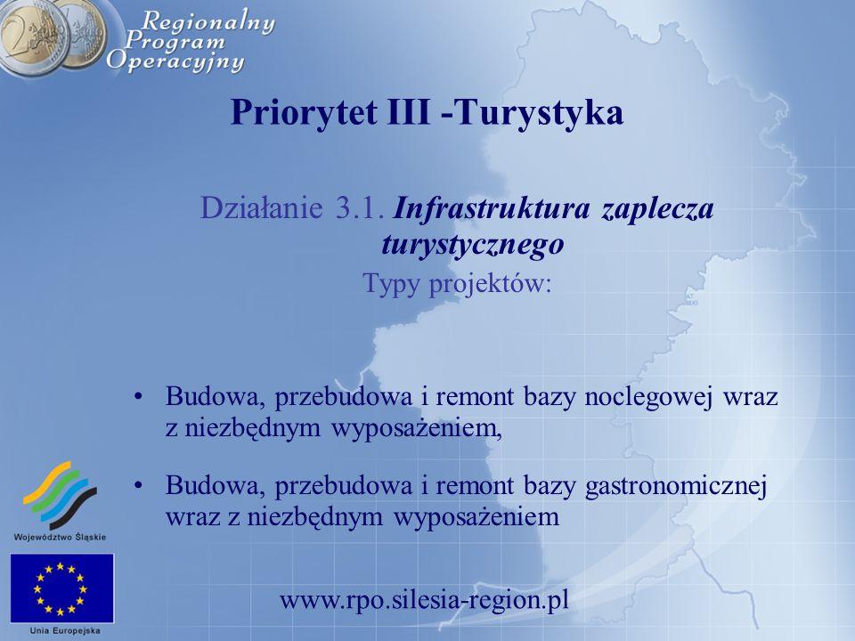 www.rpo.silesia-region.pl Priorytet III -Turystyka Działanie 3.1. Infrastruktura zaplecza turystycznego Typy projektów: Budowa, przebudowa i remont ba
