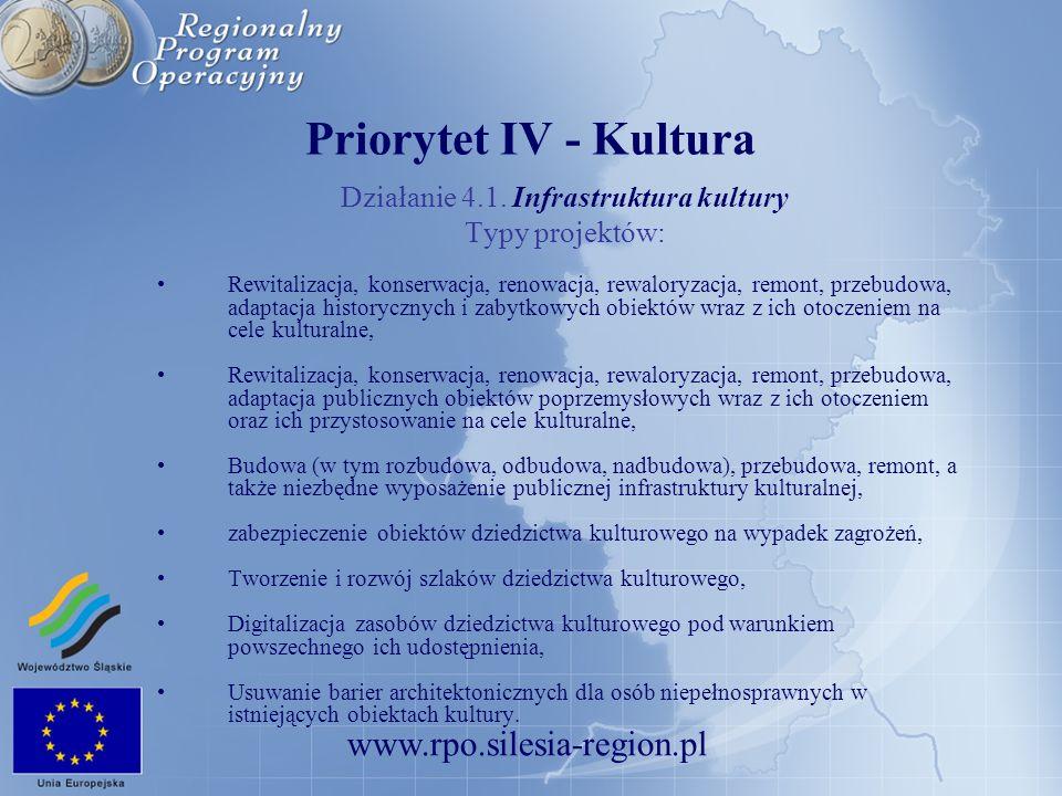 www.rpo.silesia-region.pl Priorytet IV - Kultura Działanie 4.1. Infrastruktura kultury Typy projektów: Rewitalizacja, konserwacja, renowacja, rewalory